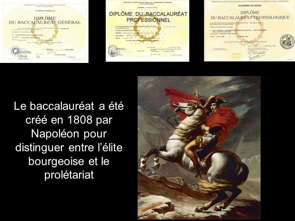 Le baccalauréat a été créé en 1808 par Napoléon pour distinguer entre lélite bourgeoise et le prolétariat