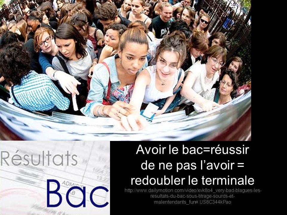 Avoir le bac=réussir de ne pas lavoir = redoubler le terminale http://www.dailymotion.com/video/xvk8o4_very-bad-blagues-les- resultats-du-bac-sous-tit