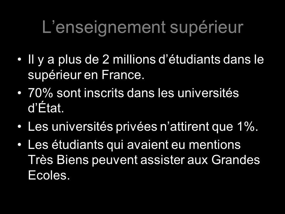 Il y a plus de 2 millions détudiants dans le supérieur en France. 70% sont inscrits dans les universités dÉtat. Les universités privées nattirent que