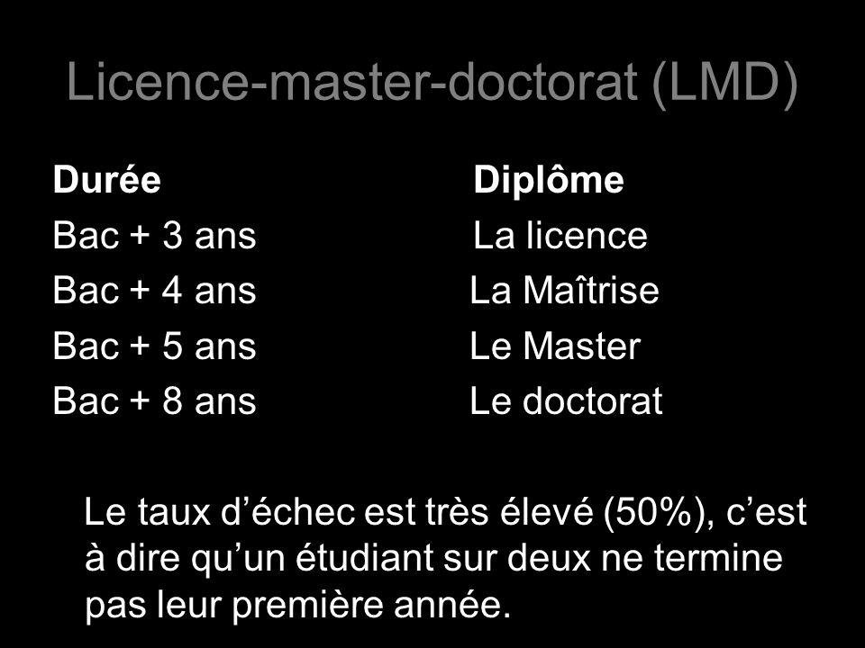 Durée Diplôme Bac + 3 ans La licence Bac + 4 ans La Maîtrise Bac + 5 ans Le Master Bac + 8 ans Le doctorat Le taux déchec est très élevé (50%), cest à dire quun étudiant sur deux ne termine pas leur première année.
