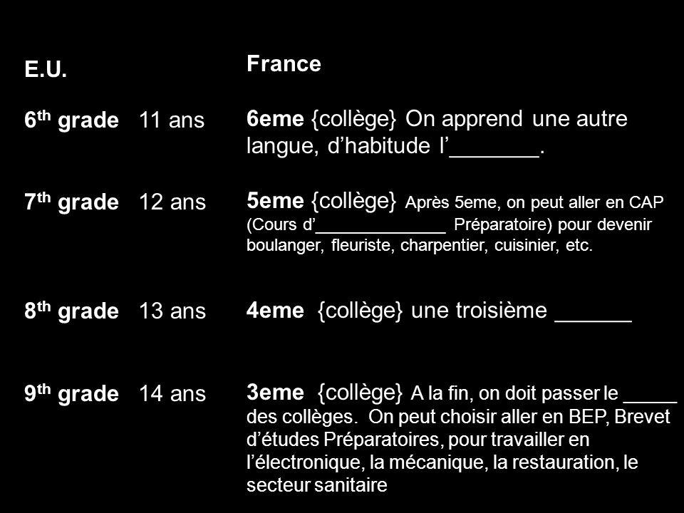 E.U. 6 th grade 11 ans 7 th grade 12 ans 8 th grade 13 ans 9 th grade 14 ans France 6eme {collège} On apprend une autre langue, dhabitude l_______. 5e