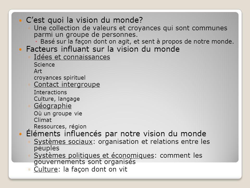 Cest quoi la vision du monde? Une collection de valeurs et croyances qui sont communes parmi un groupe de personnes. Basé sur la façon dont on agit, e