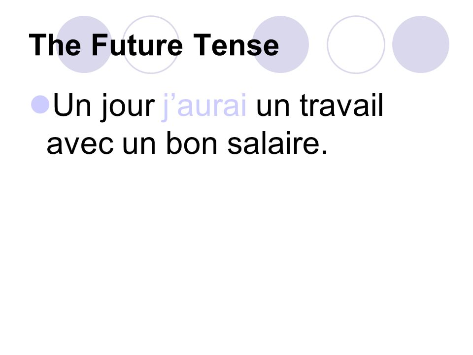 The Future Tense See if you can translate these sentences.
