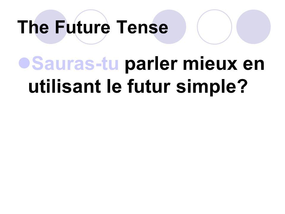 The Future Tense Dans lavenir nous pouRRons utiliser linternet pour accélerer dans notre carrière.