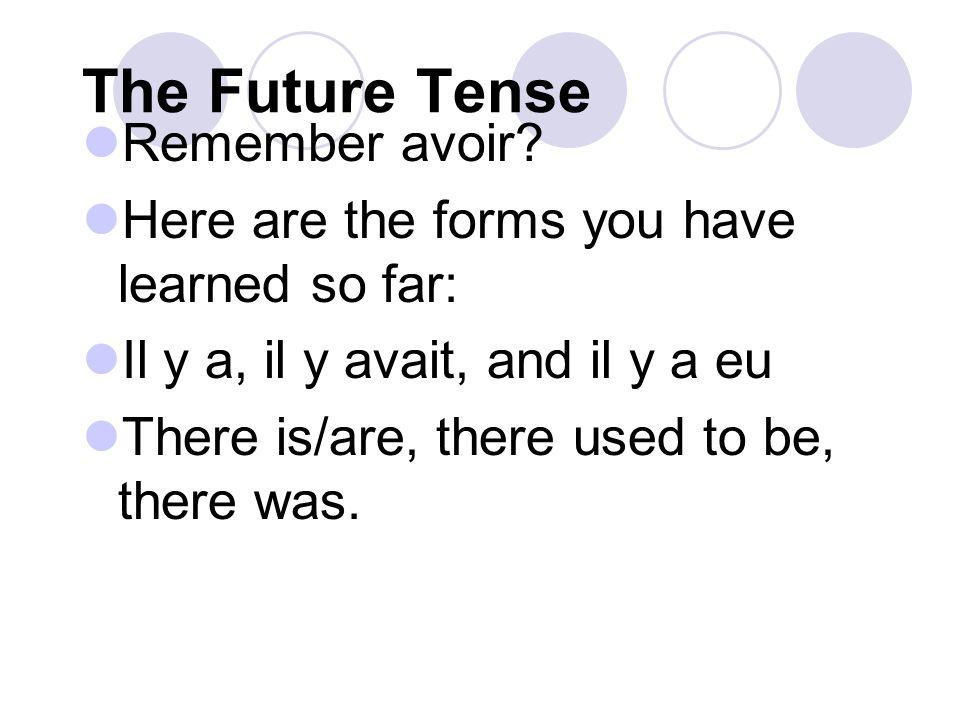 The Future Tense Sauras-tu parler mieux en utilisant le futur simple