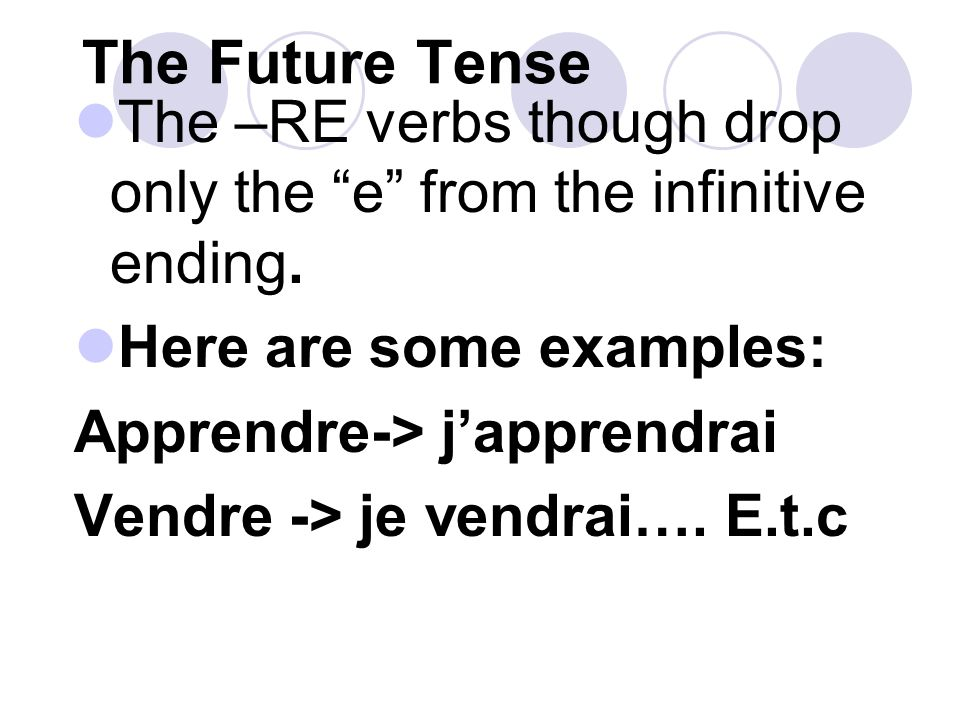 The Future Tense For most verbs, attach the endings to the infinitive. These verbs are the –er and –ir verbs (e.g. habiter, manger, finir, choisir)