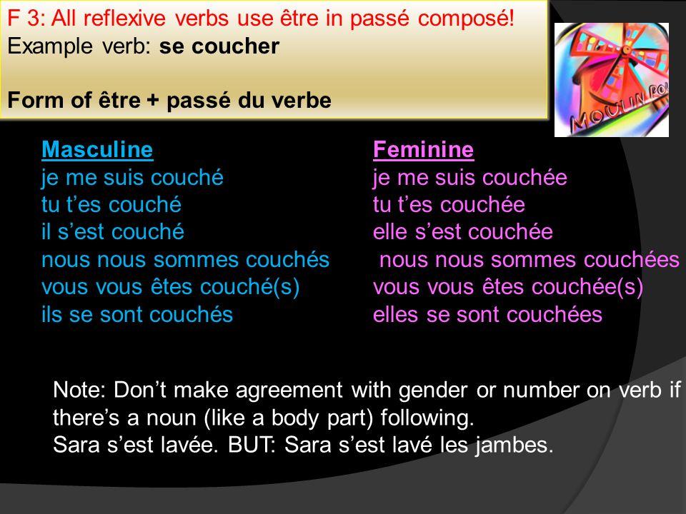 F 3: All reflexive verbs use être in passé composé! Example verb: se coucher Form of être + passé du verbe Masculine je me suis couché tu tes couché i