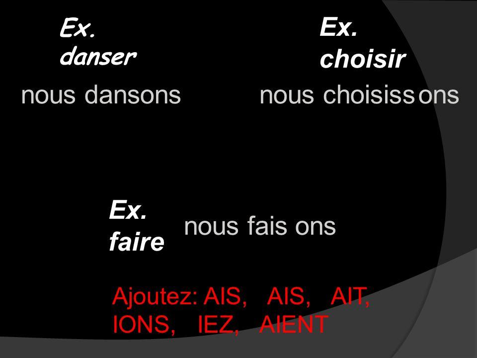 Ex. danser Ex. choisir Ex. faire nousdansnouschoisiss nousfais ons Ajoutez: AIS, AIS, AIT, IONS, IEZ, AIENT