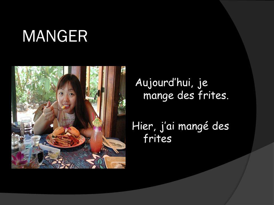 MANGER Aujourdhui, je mange des frites. Hier, jai mangé des frites