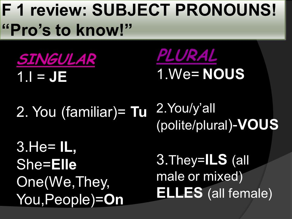 F 1 review: SUBJECT PRONOUNS. Pros to know. SINGULAR 1.I = JE 2.