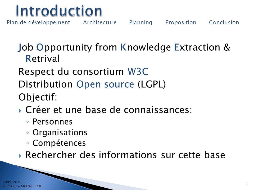 3 2009/2010 © JOKER – Master II GIL Plan de développement Architecture Planning Proposition Conclusion