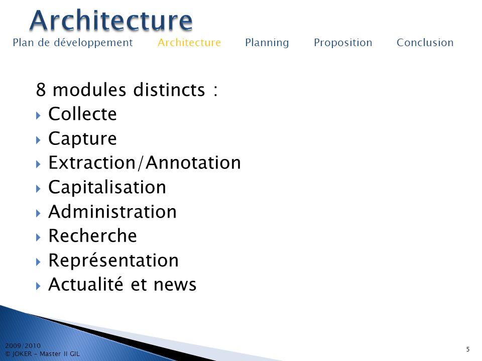 8 modules distincts : Collecte Capture Extraction/Annotation Capitalisation Administration Recherche Représentation Actualité et news 5 2009/2010 © JO