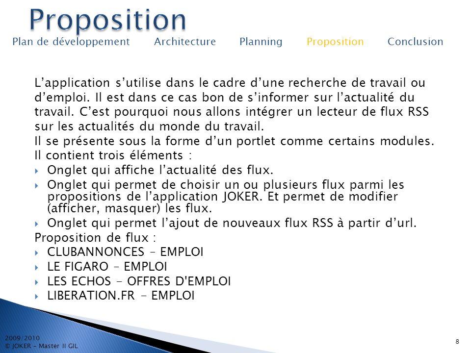 8 2009/2010 © JOKER – Master II GIL Plan de développement Architecture Planning Proposition Conclusion Lapplication sutilise dans le cadre dune recher