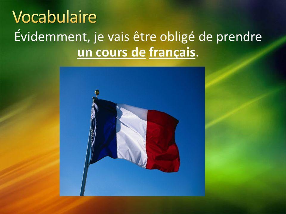 Évidemment, je vais être obligé de prendre un cours de français.