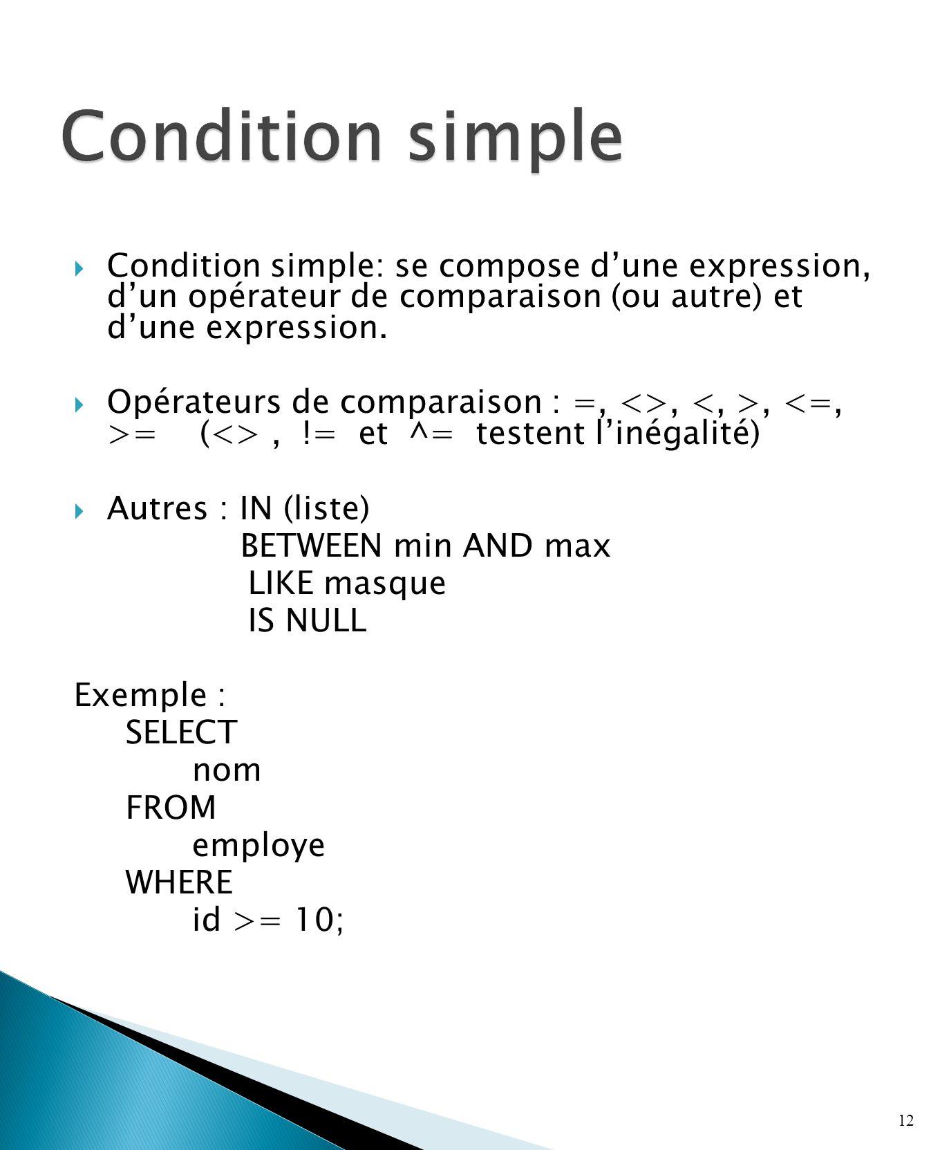 Condition simple: se compose dune expression, dun opérateur de comparaison (ou autre) et dune expression.