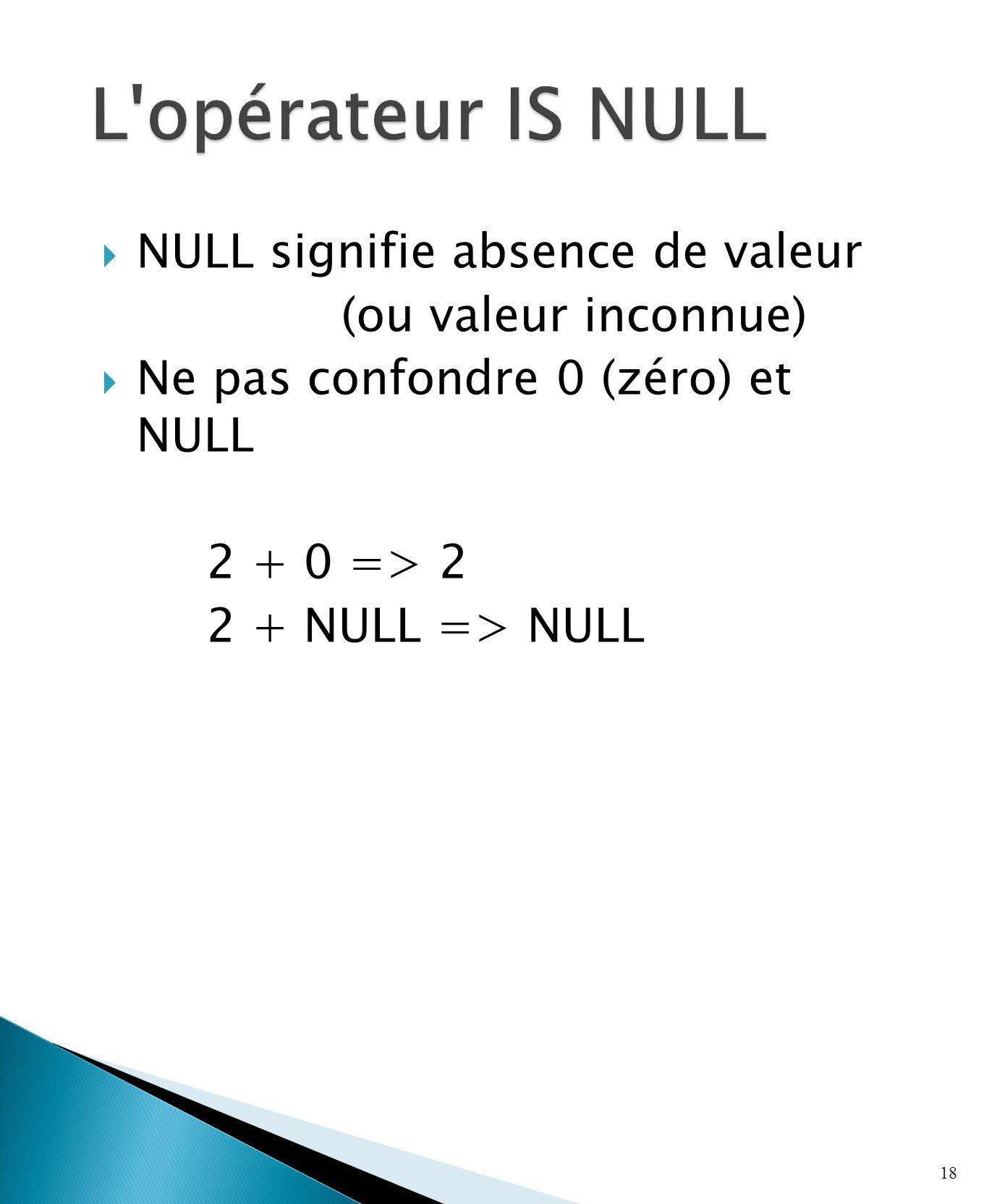 NULL signifie absence de valeur (ou valeur inconnue) Ne pas confondre 0 (zéro) et NULL 2 + 0 => 2 2 + NULL => NULL 18