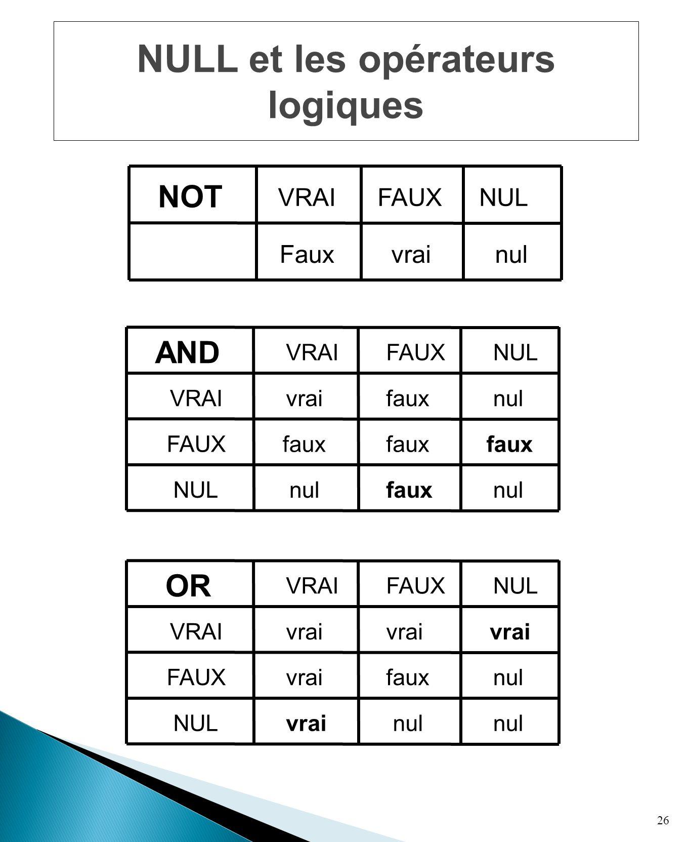 26 NULL et les opérateurs logiques vrai