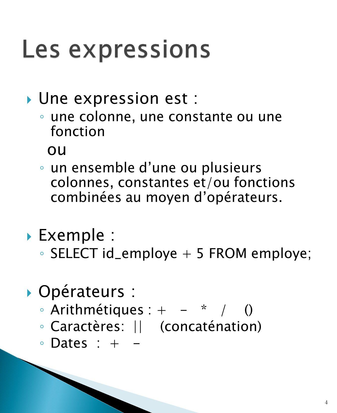 Une expression est : une colonne, une constante ou une fonction ou un ensemble dune ou plusieurs colonnes, constantes et/ou fonctions combinées au moyen dopérateurs.