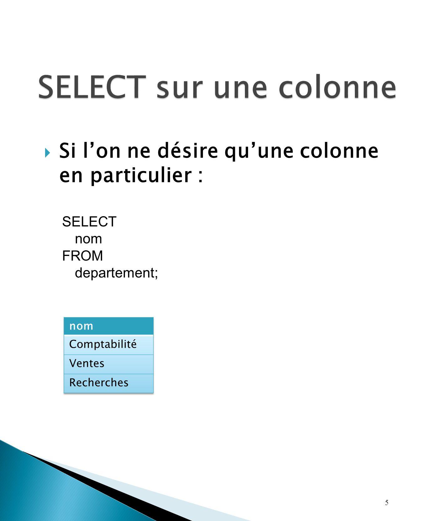 Si lon ne désire quune colonne en particulier : 5 SELECT nom FROM departement;