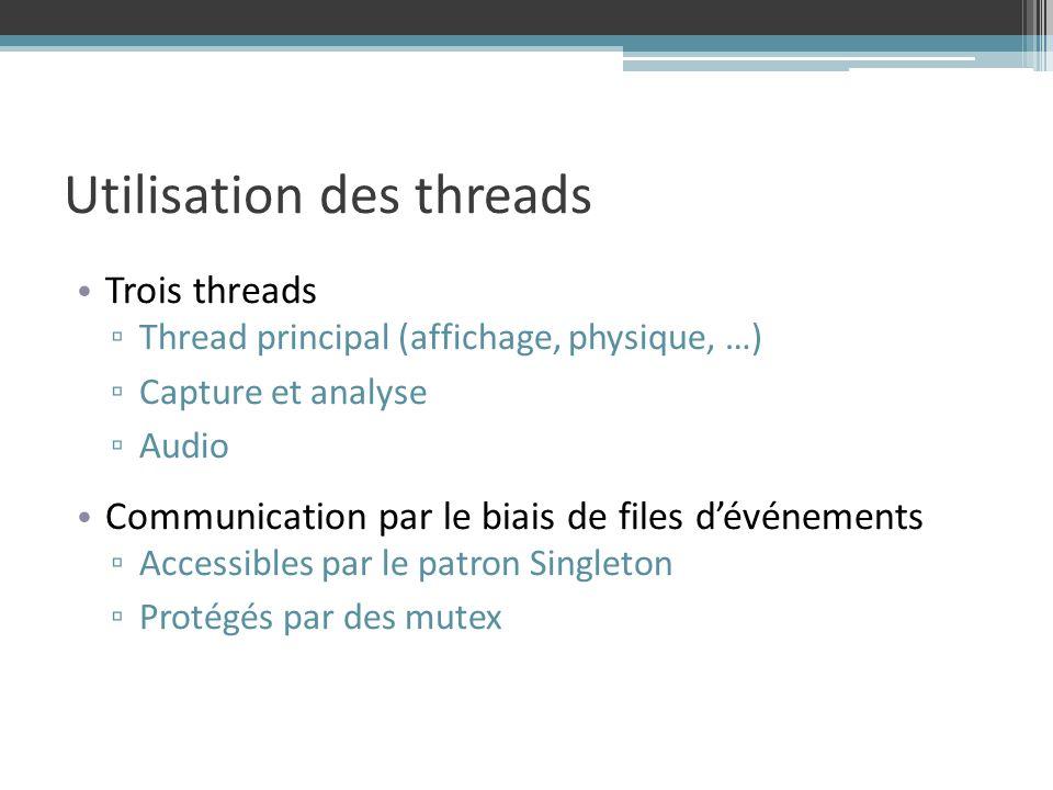 Utilisation des threads Trois threads Thread principal (affichage, physique, …) Capture et analyse Audio Communication par le biais de files dévénements Accessibles par le patron Singleton Protégés par des mutex