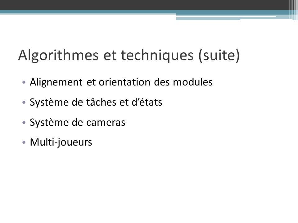 Alignement et orientation des modules Système de tâches et détats Système de cameras Multi-joueurs