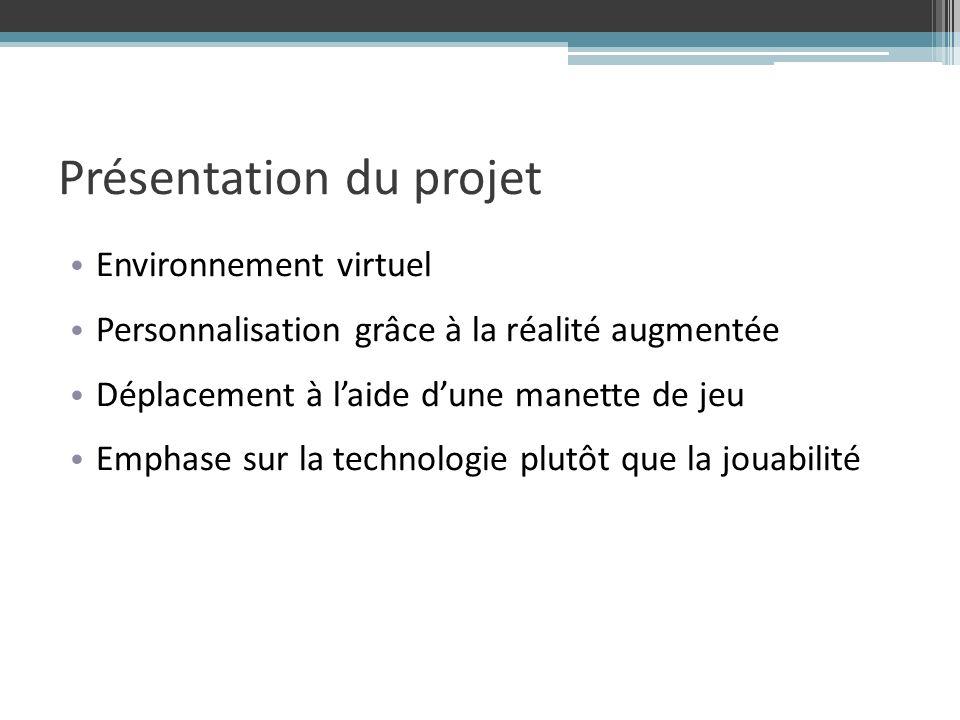 Présentation du projet Environnement virtuel Personnalisation grâce à la réalité augmentée Déplacement à laide dune manette de jeu Emphase sur la technologie plutôt que la jouabilité