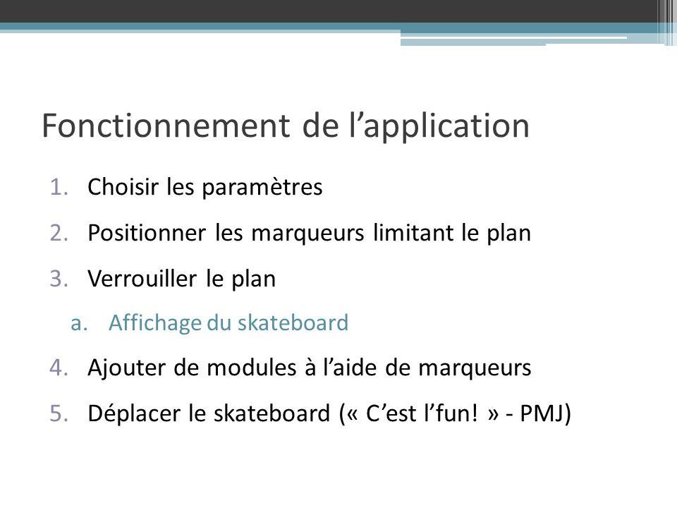 Fonctionnement de lapplication 1.Choisir les paramètres 2.Positionner les marqueurs limitant le plan 3.Verrouiller le plan a.Affichage du skateboard 4.Ajouter de modules à laide de marqueurs 5.Déplacer le skateboard (« Cest lfun.