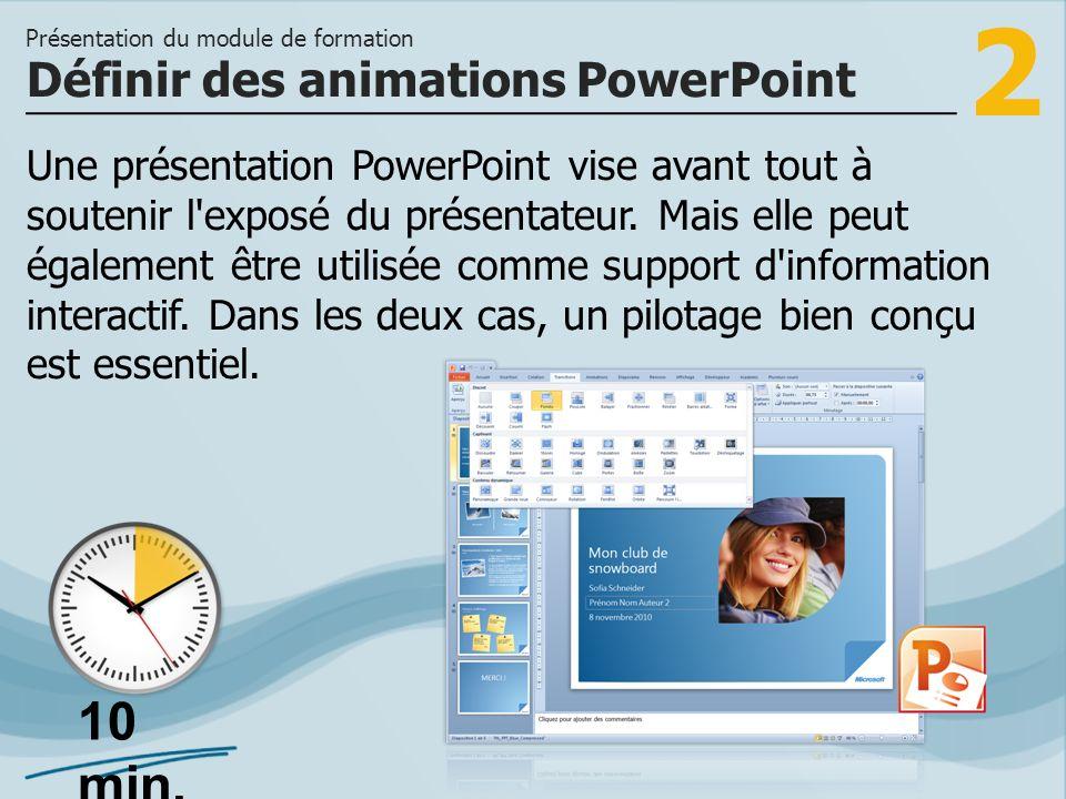 2 Une présentation PowerPoint vise avant tout à soutenir l'exposé du présentateur. Mais elle peut également être utilisée comme support d'information
