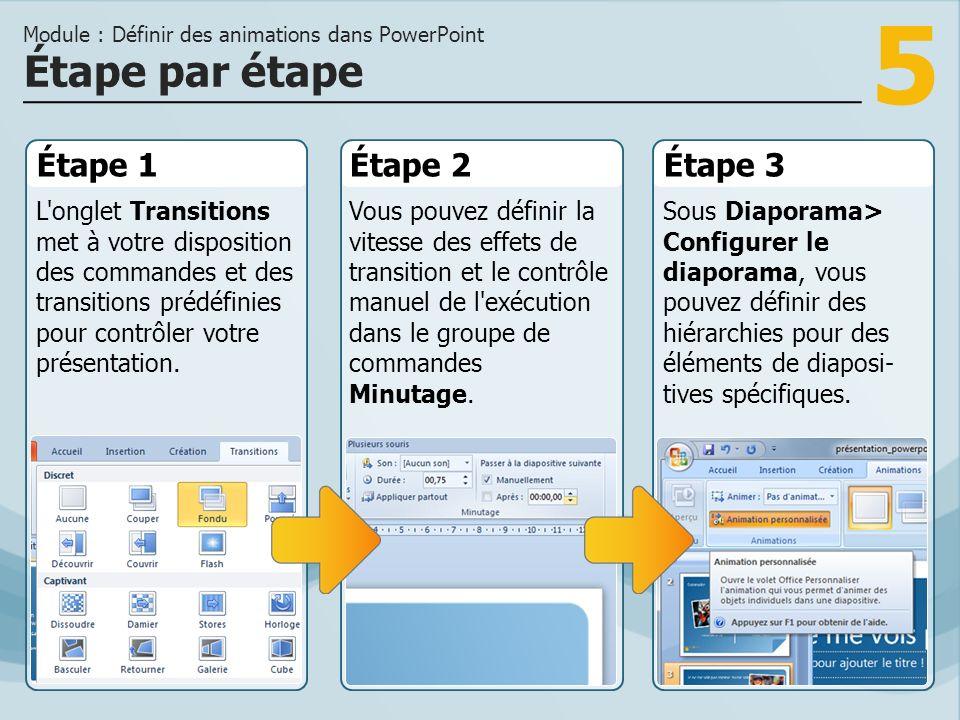 5 Étape 1 L'onglet Transitions met à votre disposition des commandes et des transitions prédéfinies pour contrôler votre présentation. Étape 2Étape 3