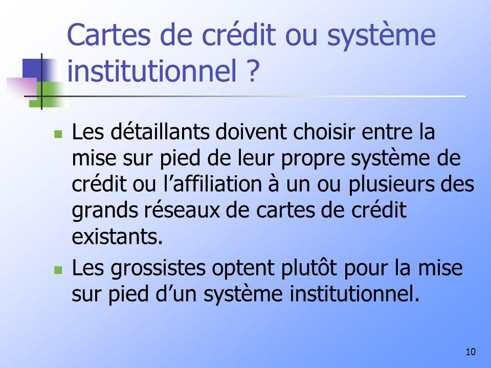 10 Cartes de crédit ou système institutionnel ? Les détaillants doivent choisir entre la mise sur pied de leur propre système de crédit ou laffiliatio