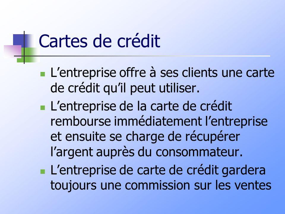 Cartes de crédit Lentreprise offre à ses clients une carte de crédit quil peut utiliser. Lentreprise de la carte de crédit rembourse immédiatement len