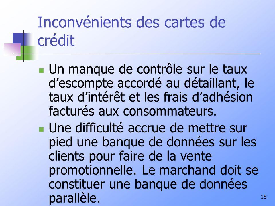 15 Inconvénients des cartes de crédit Un manque de contrôle sur le taux descompte accordé au détaillant, le taux dintérêt et les frais dadhésion facturés aux consommateurs.