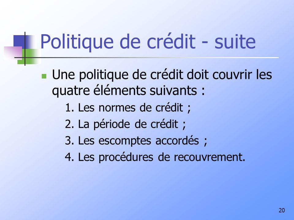 20 Politique de crédit - suite Une politique de crédit doit couvrir les quatre éléments suivants : 1. Les normes de crédit ; 2. La période de crédit ;