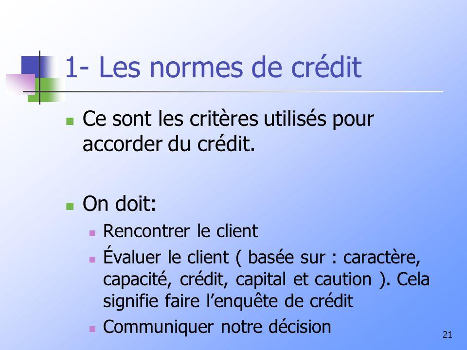 21 1- Les normes de crédit Ce sont les critères utilisés pour accorder du crédit. On doit: Rencontrer le client Évaluer le client ( basée sur : caract