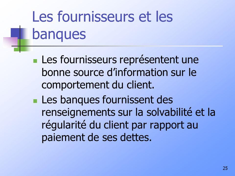 25 Les fournisseurs et les banques Les fournisseurs représentent une bonne source dinformation sur le comportement du client. Les banques fournissent