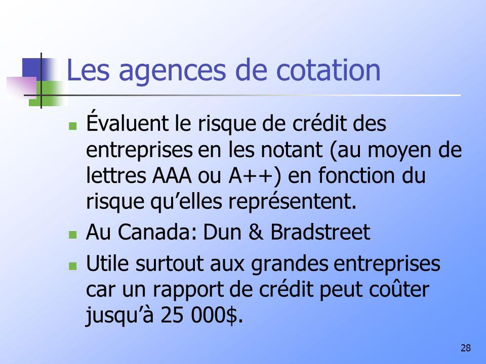 28 Les agences de cotation Évaluent le risque de crédit des entreprises en les notant (au moyen de lettres AAA ou A++) en fonction du risque quelles r