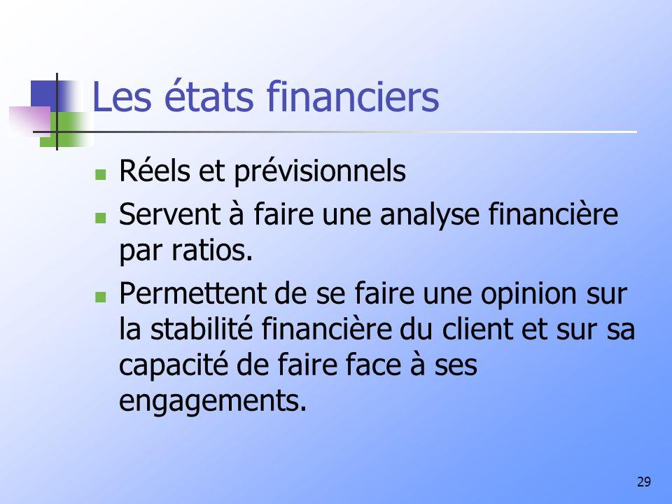 29 Les états financiers Réels et prévisionnels Servent à faire une analyse financière par ratios. Permettent de se faire une opinion sur la stabilité