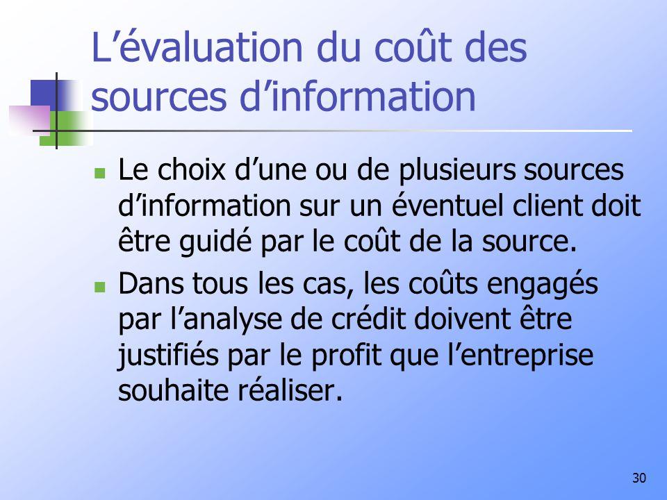 30 Lévaluation du coût des sources dinformation Le choix dune ou de plusieurs sources dinformation sur un éventuel client doit être guidé par le coût