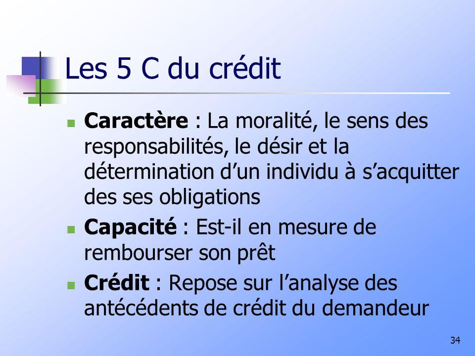 Les 5 C du crédit Caractère : La moralité, le sens des responsabilités, le désir et la détermination dun individu à sacquitter des ses obligations Capacité : Est-il en mesure de rembourser son prêt Crédit : Repose sur lanalyse des antécédents de crédit du demandeur 34