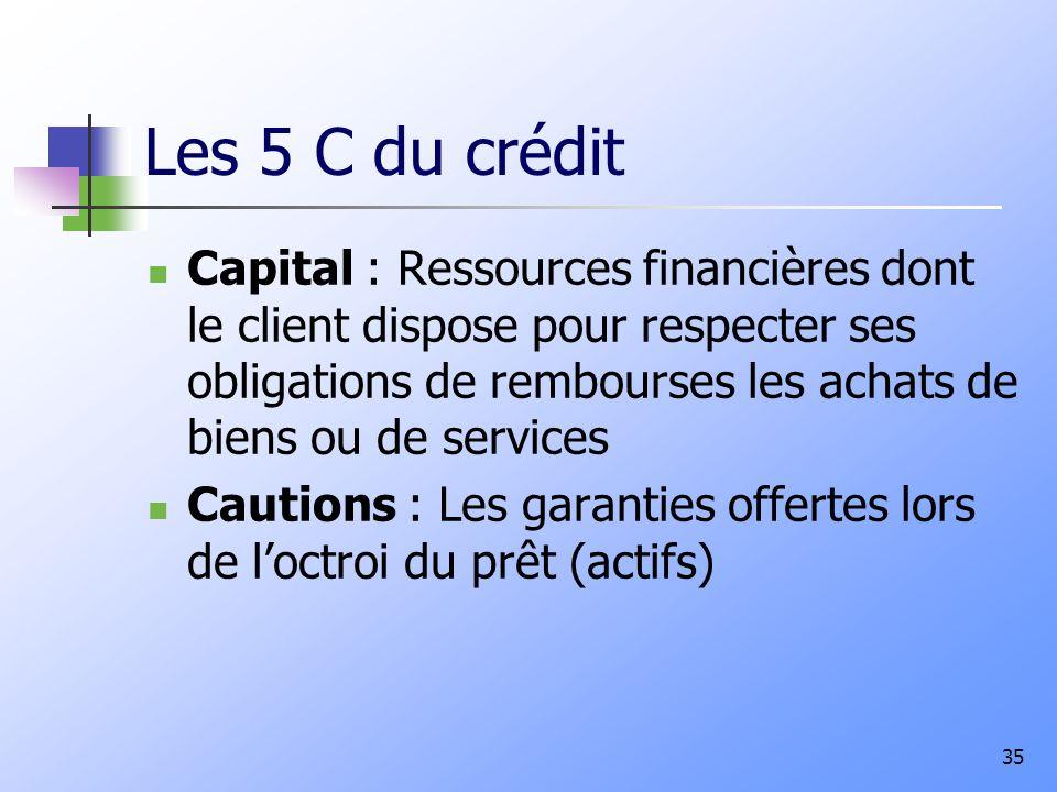 Les 5 C du crédit Capital : Ressources financières dont le client dispose pour respecter ses obligations de rembourses les achats de biens ou de services Cautions : Les garanties offertes lors de loctroi du prêt (actifs) 35