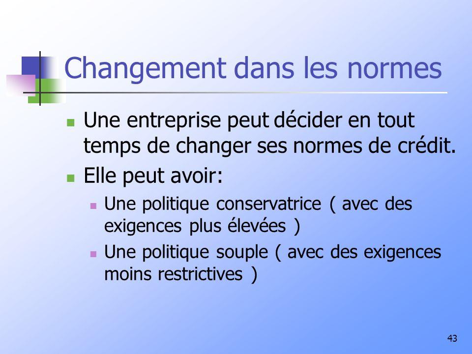 43 Changement dans les normes Une entreprise peut décider en tout temps de changer ses normes de crédit.