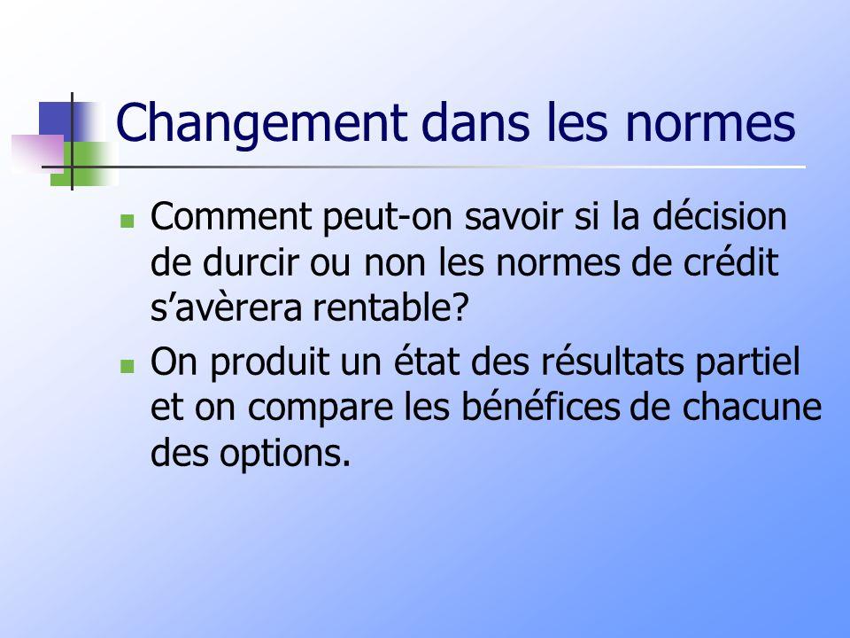 Changement dans les normes Comment peut-on savoir si la décision de durcir ou non les normes de crédit savèrera rentable? On produit un état des résul