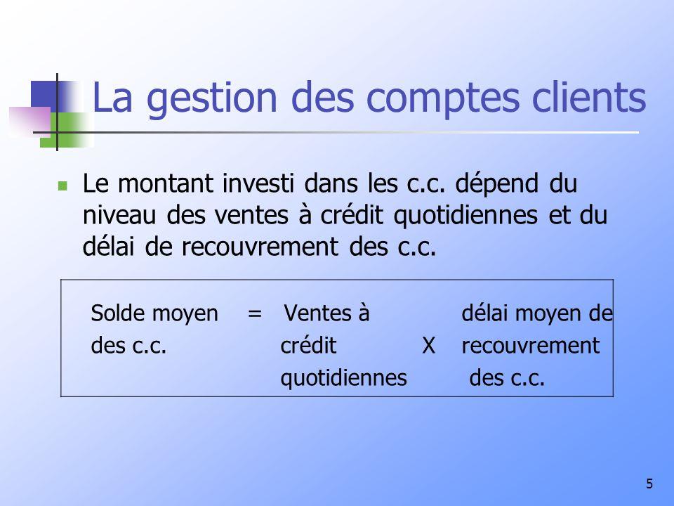 5 La gestion des comptes clients Le montant investi dans les c.c. dépend du niveau des ventes à crédit quotidiennes et du délai de recouvrement des c.