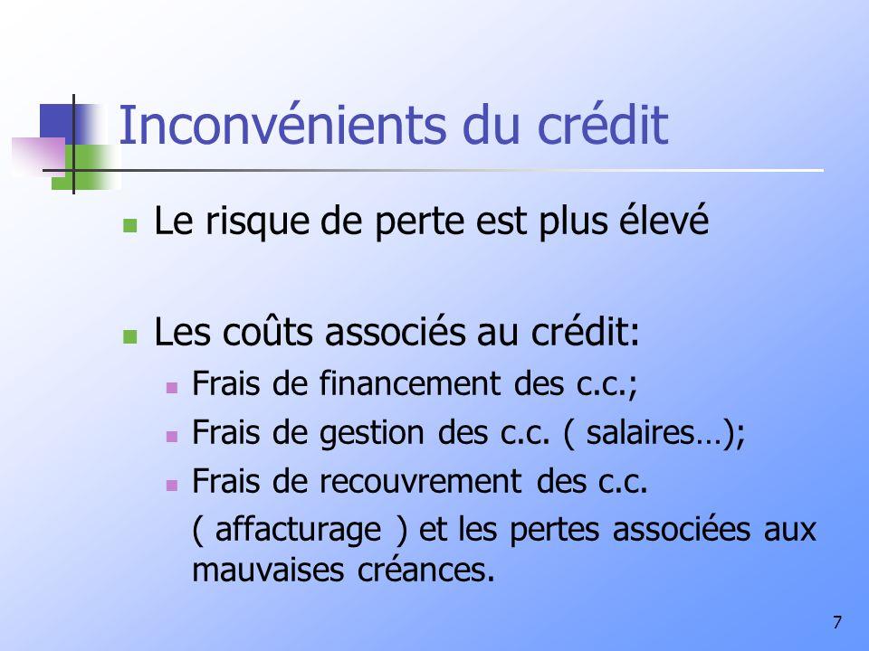 7 Inconvénients du crédit Le risque de perte est plus élevé Les coûts associés au crédit: Frais de financement des c.c.; Frais de gestion des c.c.