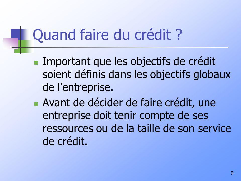 9 Quand faire du crédit ? Important que les objectifs de crédit soient définis dans les objectifs globaux de lentreprise. Avant de décider de faire cr