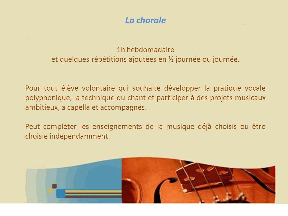 Hélène WAGNER 2013 La chorale 1h hebdomadaire et quelques répétitions ajoutées en ½ journée ou journée. Pour tout élève volontaire qui souhaite dévelo