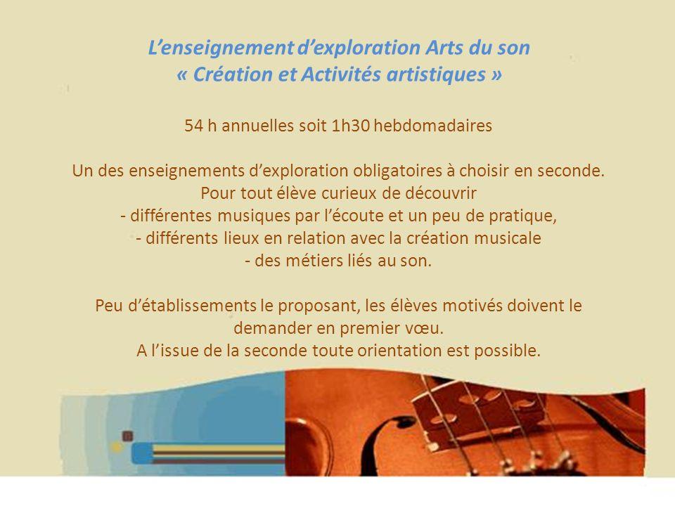 Hélène WAGNER 2013 Lenseignement dexploration Arts du son « Création et Activités artistiques » 54 h annuelles soit 1h30 hebdomadaires Un des enseigne