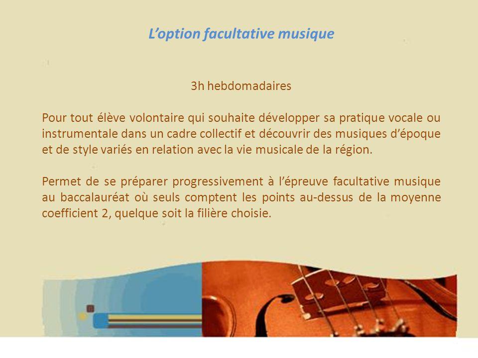 Hélène WAGNER 2013 Loption facultative musique 3h hebdomadaires Pour tout élève volontaire qui souhaite développer sa pratique vocale ou instrumentale