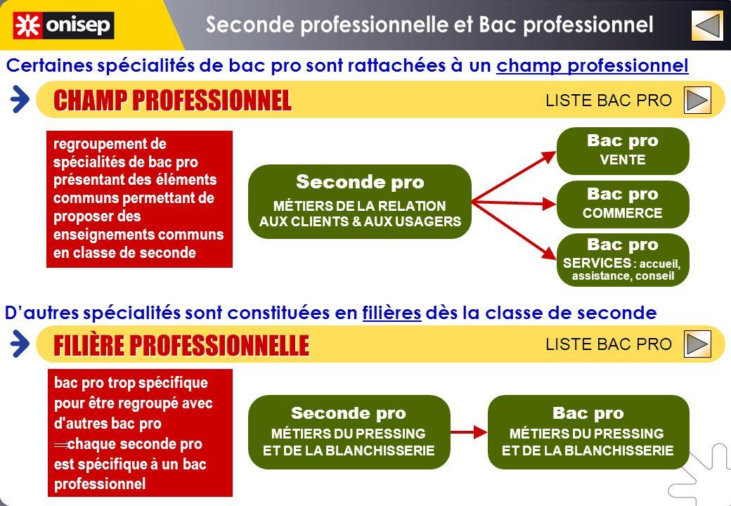 Certaines spécialités de bac pro sont rattachées à un champ professionnel bac pro trop spécifique pour être regroupé avec d'autres bac pro chaque seco