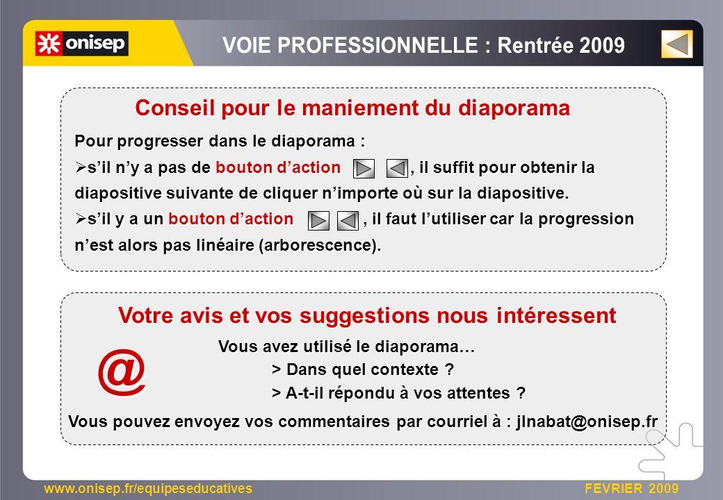 www.onisep.fr/equipeseducatives FEVRIER 2009 Pour progresser dans le diaporama : sil ny a pas de bouton daction, il suffit pour obtenir la diapositive